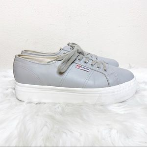 Superga Leather Platform Sneaker Gray 10